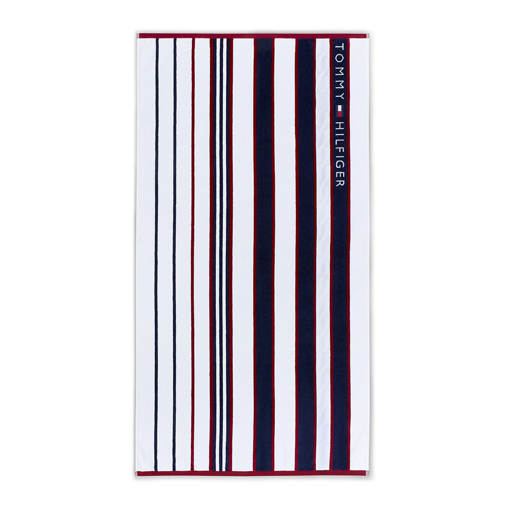 Tommy Hilfiger - Blue  Red Striped Beach Towel