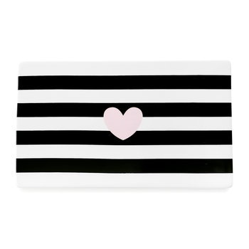 Ceramic Serving Board - Black Stripes with Heart
