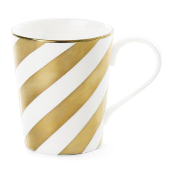 Gold Diagonal Stripes Ceramic Coffee Mug