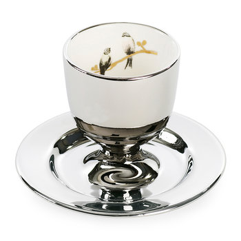 Silver Egg Cup & Stand with 2 Birds