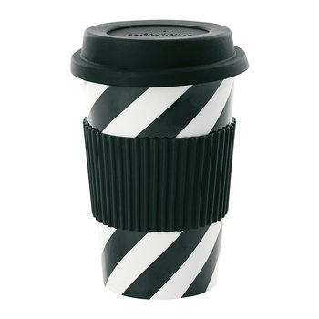Ceramic Travel Mug - Black Diagonal Stipes