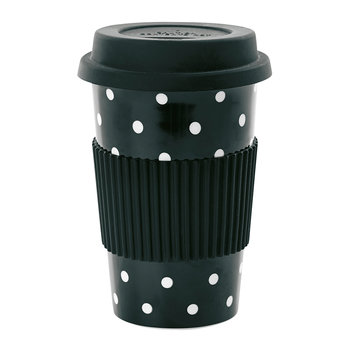 Ceramic Travel Mug - Black with White Dots