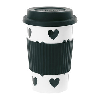 Ceramic Travel Mug - Big Black Hearts