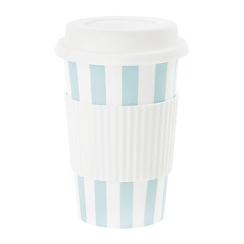 Ceramic Travel Mug - Turquoise Stripes