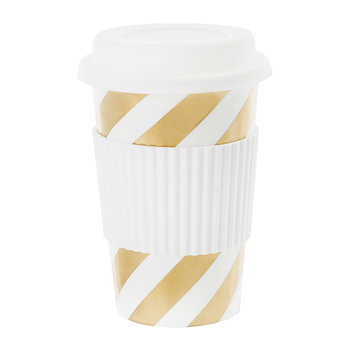 Ceramic Travel Mug - Gold Diagonal Stripes