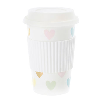 Ceramic Travel Mug - Multicolored Hearts
