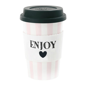 Ceramic Travel Mug - Enjoy with Rose Stripes