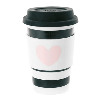 Ceramic Travel Mug - Rose Heart with Black Stripes