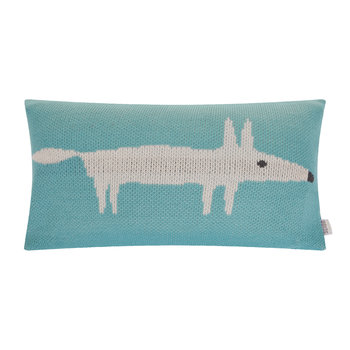 Mr Fox Knitted Pillow - 30x50cm - Lagoon