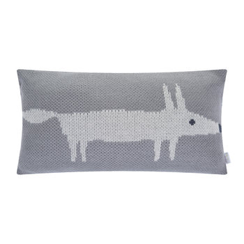 Mr Fox Knitted Pillow - 30x50cm - Silver