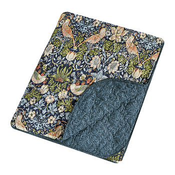 Strawberry Thief Quilted Throw - Indigo