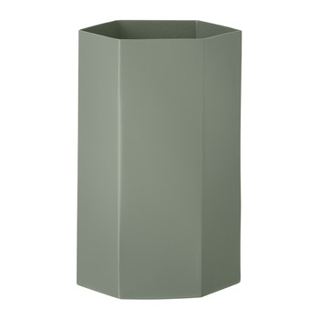 Hexagon Vase - Dusty Green - 12x21cm