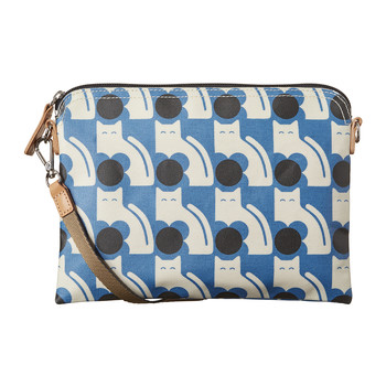 Laminated Poppy Cat Travel Pouch - Powder Blue