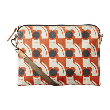 Laminated Poppy Cat Travel Pouch - Persimmon