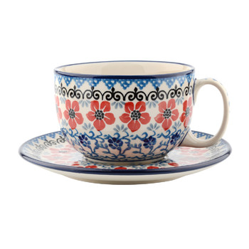 Breakfast Cup & Saucer - Red Violets