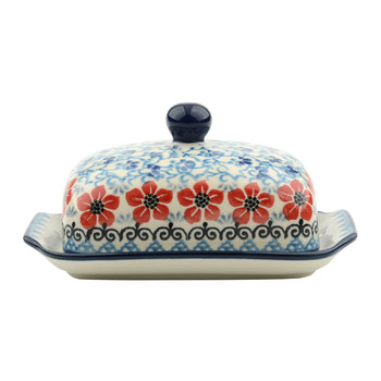 Butter Dish - Red Violets