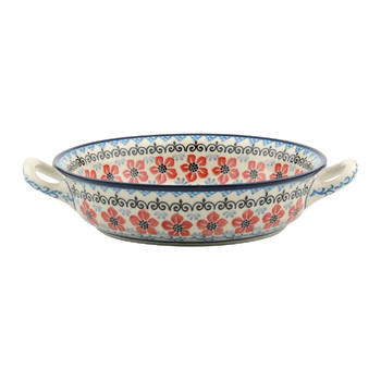 Round Oven Dish - Red Violets