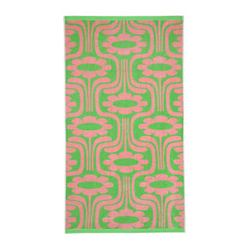 Climbing Daisy Beach Towel - Pale Rose/Emerald