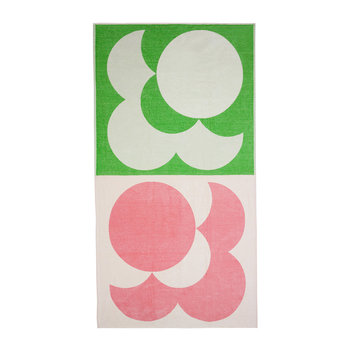 Bigspot Shadow Flower Beach Towel - Pale Rose/Emerald
