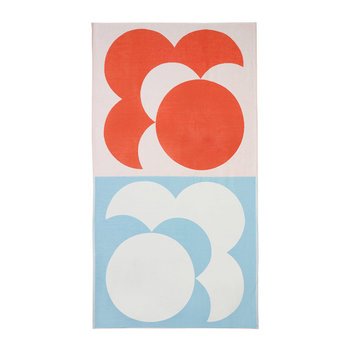 Bigspot Shadow Flower Beach Towel - Persimmon/Sky Blue