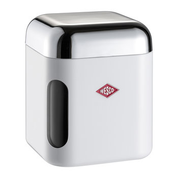 Square Canister with Window - White