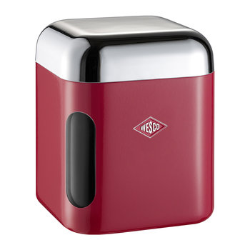 Square Canister with Window - Red