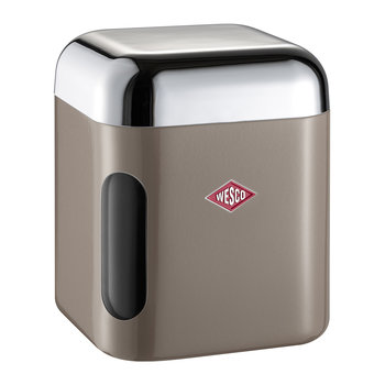 Square Canister with Window - Warm Gray
