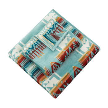 Iconic Jacquard Towel - Chief Joseph Aqua