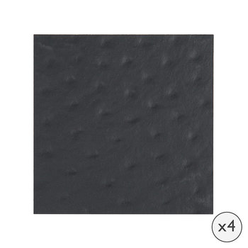 Emu Effect Recycled Leather Coasters - Set of 4 - Coal