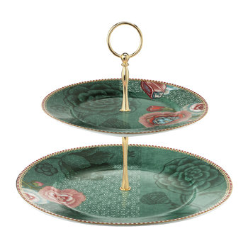 Spring To Life 2 Tier Cake Stand - Green