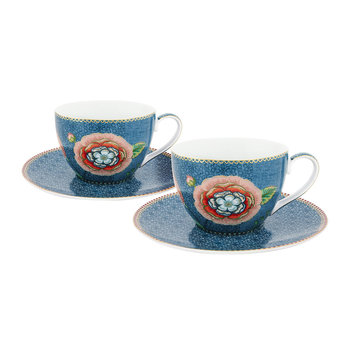 Spring To Life Cappuccino Cup & Saucer - Set of 2 - Blue