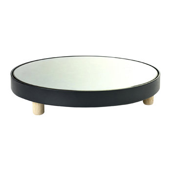 Studio Simple Round Mirror Tray - Black