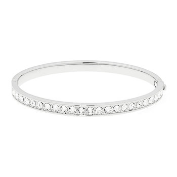 Clemara Silver Bangle - Crystal