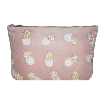 Ananas Velvet  Wash Bag - Mauve