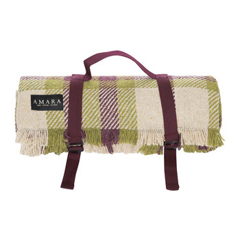 Anemone Wool Picnic Blanket - Mulberry Green/Wine