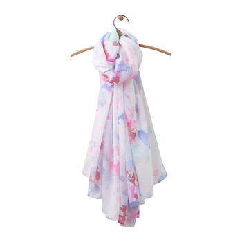 Harmony Woven Scarf - Bright White Floral