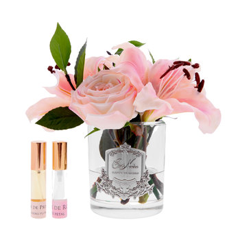 Lillies & Roses in Clear Glass - Blush