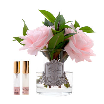 English Roses in Clear Glass - Pink
