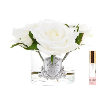 Roses in White Glass with Giftbox - Ivory
