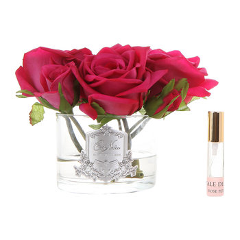 Roses in White Glass with Giftbox - Carmine Red