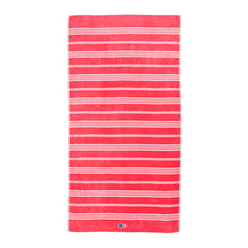 Striped Velour Beach Towel - 100x180cm - Rose/White