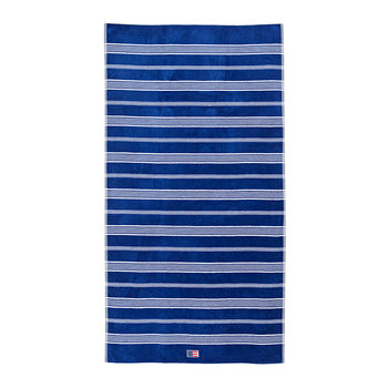 Striped Velour Beach Towel - 100x180cm - Blue/White
