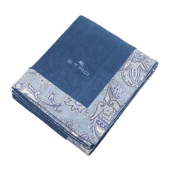 Abbots Beach Towel with Border - Navy