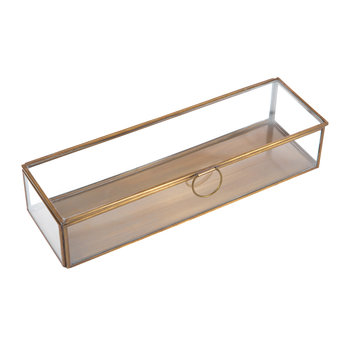 Janni Trinket Box - Brass/Glass - Long