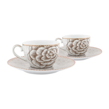 Spring To Life Espresso Cup & Saucers - Set of 2 - Cream