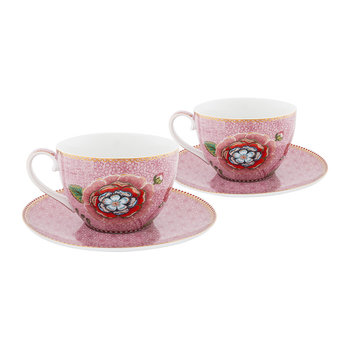 Spring To Life Cappuccino Cup & Saucer - Set of 2 - Pink