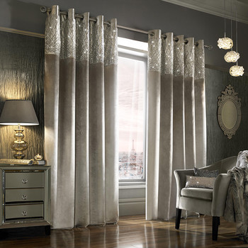 Esta Lined Eyelet Curtains - Silver