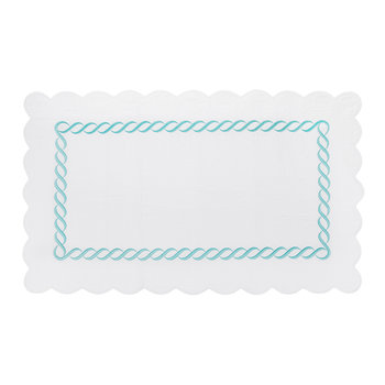Chain Embroidery Bath Mat - Turquoise - 60x100cm