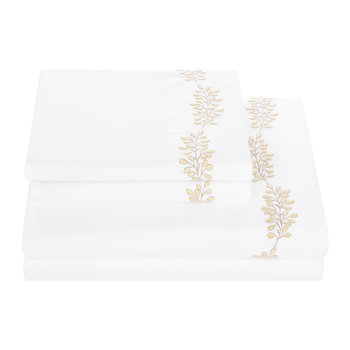 Gocce Di Luce Embroidery Sheet Set - Yellow - Super King