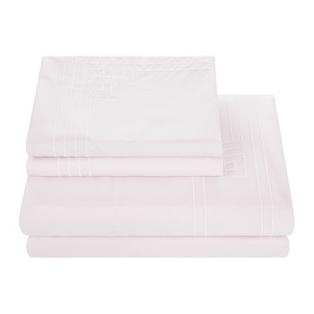 Embroidery Odeon Sheet Set - Pink - Super King